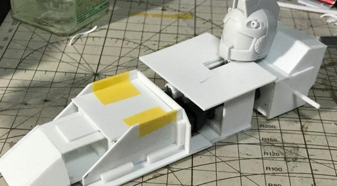 【スクラッチ】超次元戦鬪母艦グランド・バース(その4:船首のスライド機構をプラ棒で作る。。。)